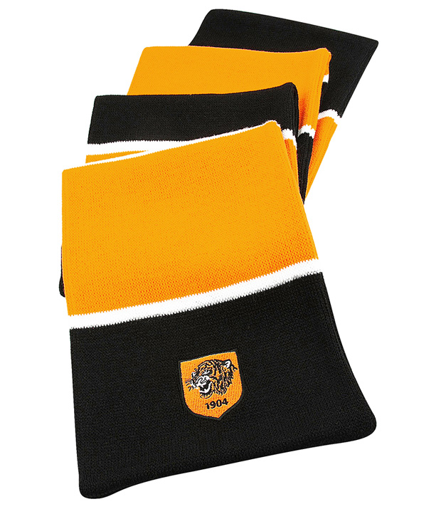 3 Stripe Bar Scarf Black/Amber/White
