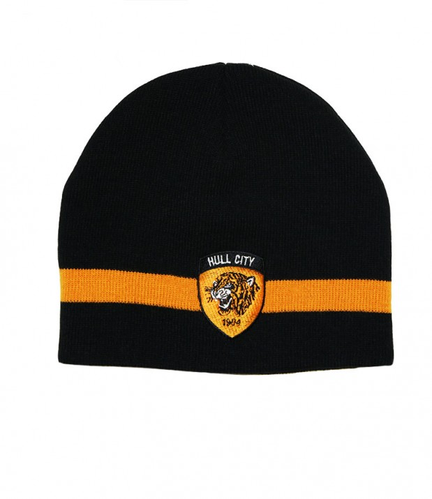 Skull Hat Black Amber Stripe
