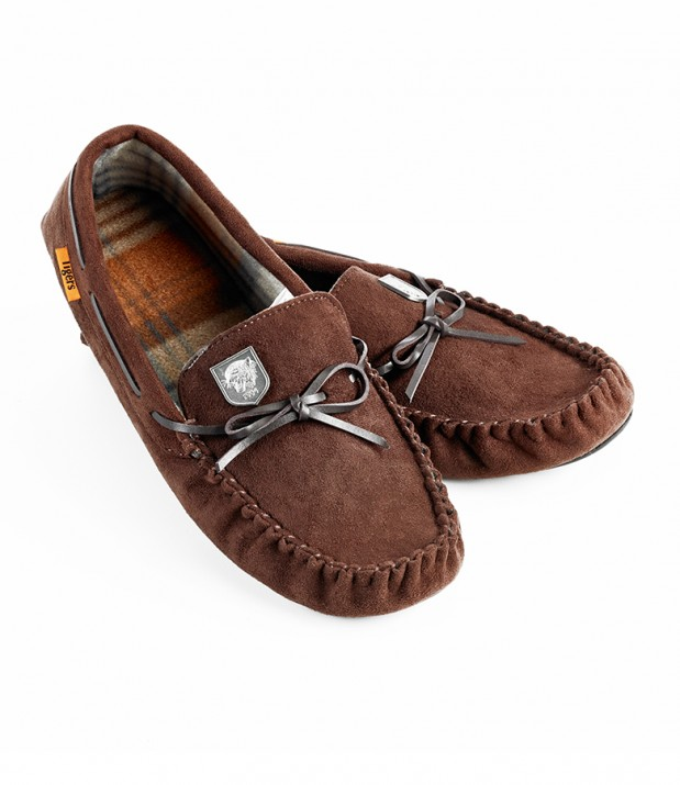 Adult Moccasin Slippers - Brown/Check