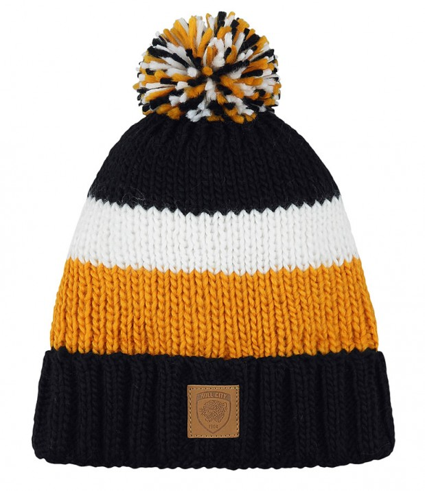 Cable Knit Striped Bobble Hat