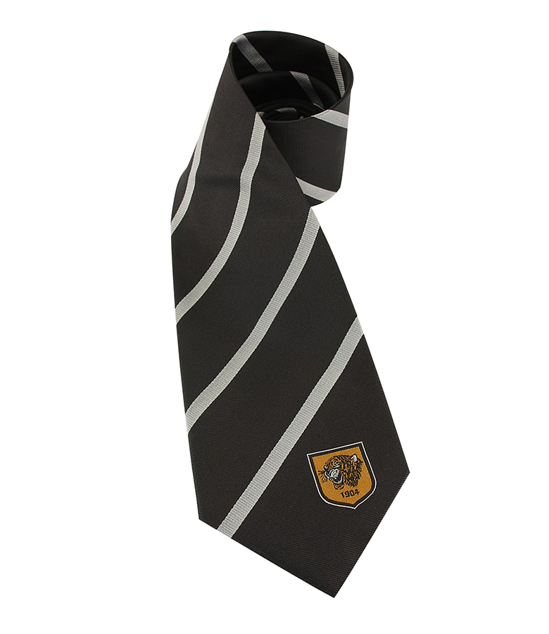Charcoal/Silver Striped Silk Tie