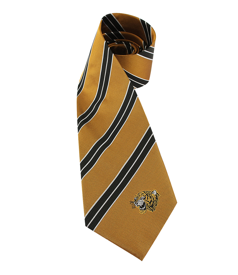 Amber Stripe Tie Silk Tiger Head