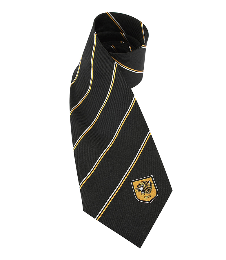 Silk Tie - black/thin amber stripe